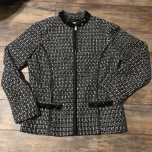 Chico's Fitted Embroidered Blazer Jacket